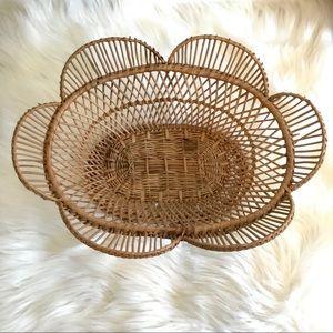 Vintage Wicker Flower Shaped Basket Decor